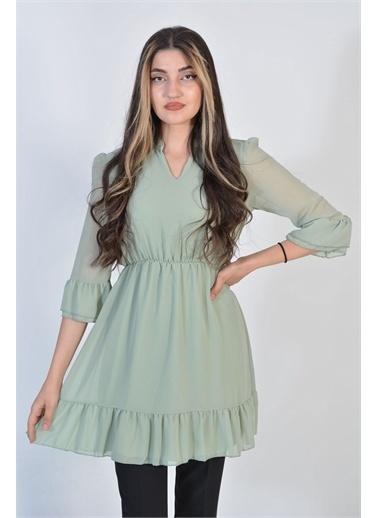 Zeren Kadın Mint V Yaka Pileli Tunik Yeşil